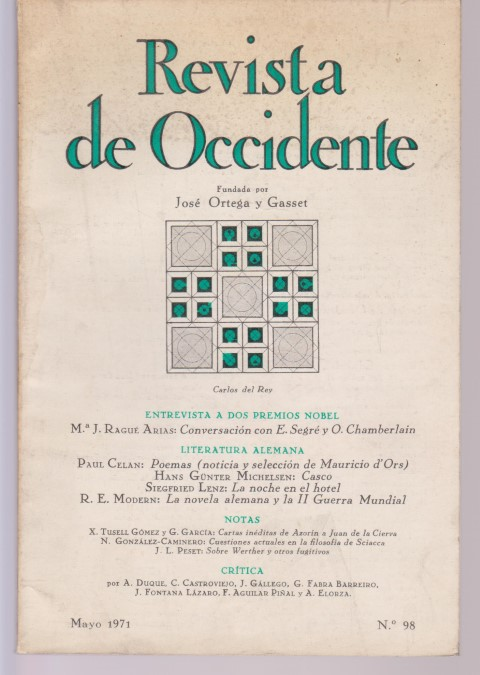 REVISTA DE OCCIDENTE. Nº98. MAYO 1971